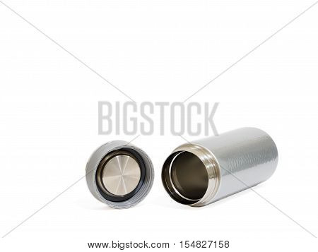 vacuum bottle Thermo flask on the white background