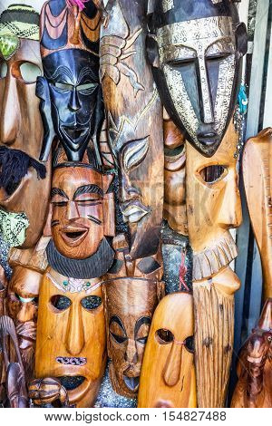 Wooden African masks in Morocco. Gifts in Africa