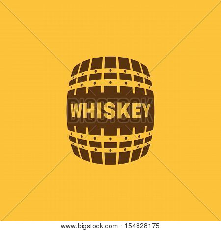 The whiskey icon. Cask and keg, alcohol, whiskey symbol. UI. Web. Logo. Sign. Flat design. App. Stock vector