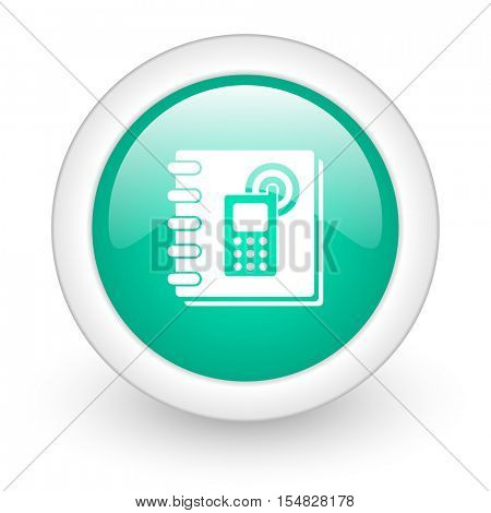 phonebook round glossy web icon on white background