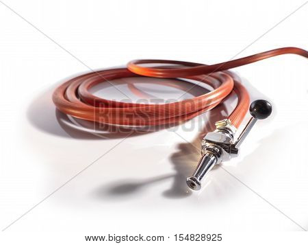 Red fire fighting hose with coupler and nozzle Isolated on white background.