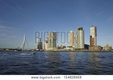 Rotterdam skyline with Erasmus Bridge. Rotterdam South Holland Netherlands.