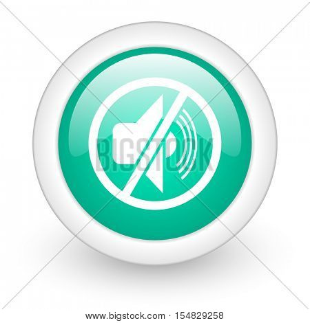 mute round glossy web icon on white background