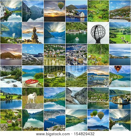 Norway, natural landscapes, travel collage, tourist background