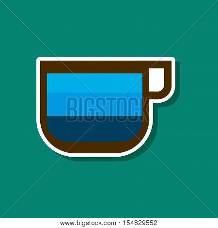 paper sticker on stylish background of coffee cup latte macchiato