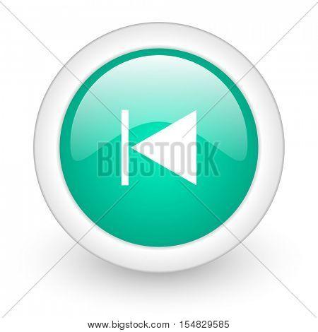 prev round glossy web icon on white background