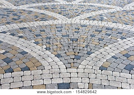 the pavement of concrete pavement tiles patterned