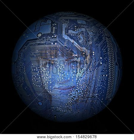 woman's face on the background of electronic digital planet