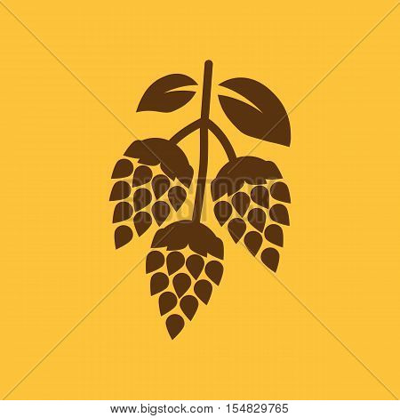 Hops icon. Beer and hop, Hops symbol. UI. Web. Logo. Sign. Flat design. App.Stock vector