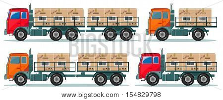 delivery service trucks with boxes. Stock vector illustration