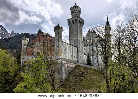 Palace in Bavaria, Germany. Castle Neuschwanstein building