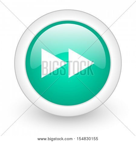 rewind round glossy web icon on white background