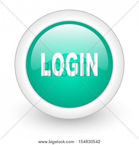 login round glossy web icon on white background