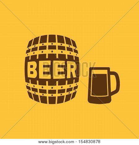 Keg and glass of beer icon. Cask and barrel, alcohol, beer symbol. UI. Web. Logo. Sign. Flat design. App. Stock vector