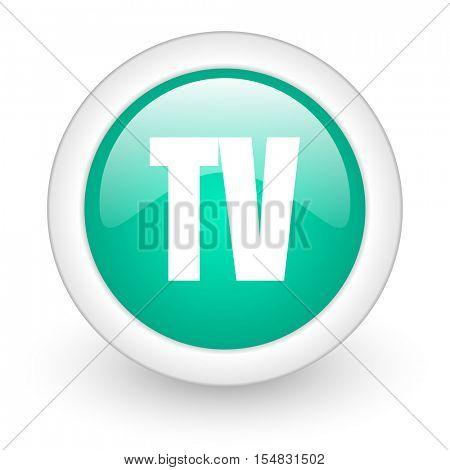 tv round glossy web icon on white background