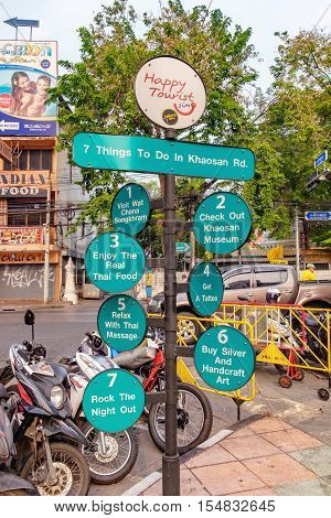 Bangkok, Thailand - January 8, 2016: 7 things to do in Khaosan Road sign post is installed on Khaosan Road to guide tourists. Khaosan Road is famous among backpackers travelling to Bangkok.