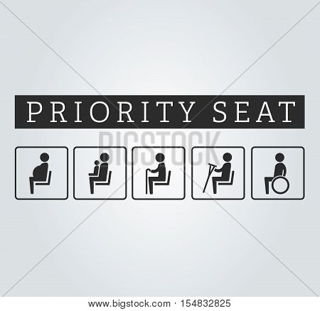 Disabilities and seniors, cripple, pregnant, mom or mother with child area sign set. Priority seating for customers, special place icons on background. Vector illustration flat style