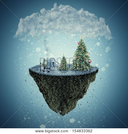 Winter holidays illustration of a isolated dreamland as a flying island covered with snow. Santa's home decorated Christmas trees and a bench on the edge. 3D Illustration