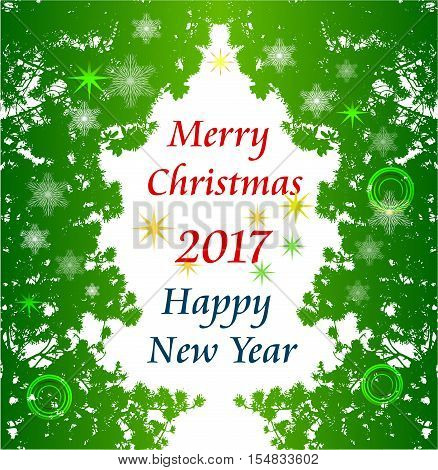 Christmas greeting card with frame of needles, snowflakes and stars. Green stylized christmas tree of needles and snowflakes