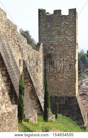 Fortified walls in the downtown of Florence, Italy