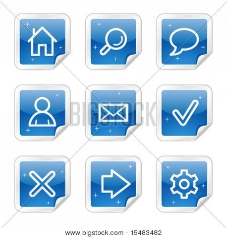 Basic web icons, blue glossy sticker series