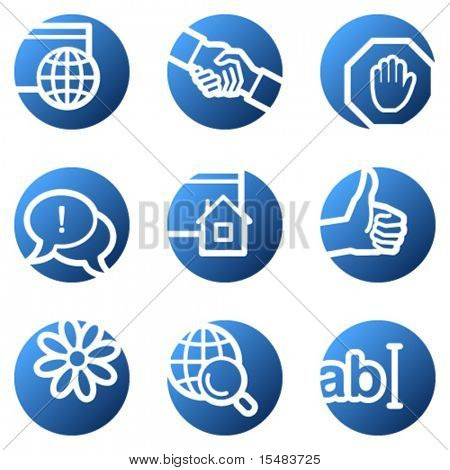 Internet web icons, blue circle series