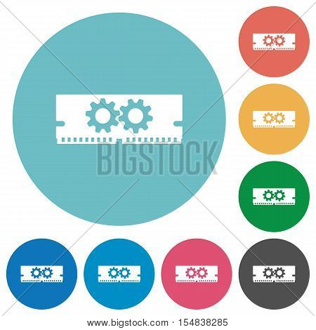 Memory optimization flat white icons on round color background.
