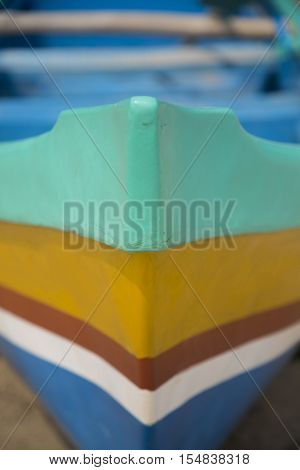 Close view of the forecastle of a small boat