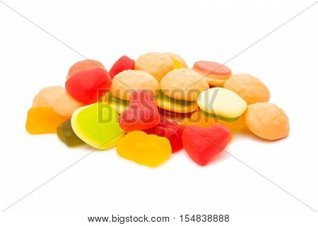 dessert jelly candies isolated on white background