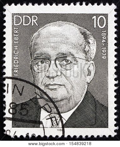 GERMANY - CIRCA 1984: a stamp printed in Germany shows Friedrich Ebert Junior Working-class Leader circa 1984