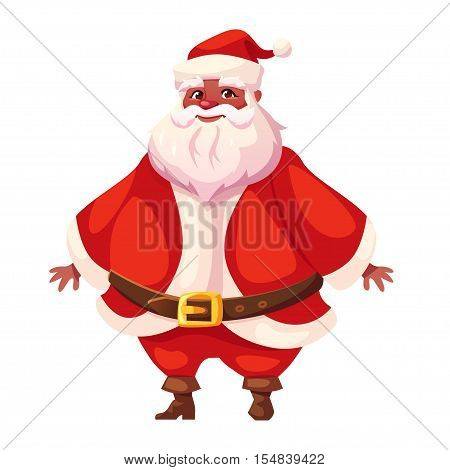 Vector illustration of african american Santa Claus in three-quarter pose. Flat cartoon style colorful Christmas character design. Isolated funny man.