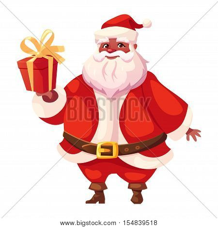 Vector illustration of african americanSanta Claus in three-quarter pose holding christmas gift. Flat cartoon style colorful Christmas character design.