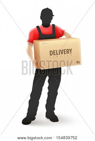 Delivery service man postman silhouette in blcak uniform holding cardboard box parcel hands. Vector illustration. Isolated white background