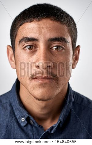 Portrait of real middle eastern man with no expression ID or passport photo full collection of diverse face and expressions