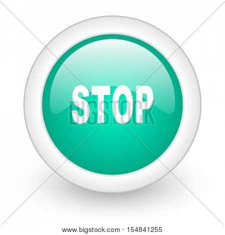 stop round glossy web icon on white background