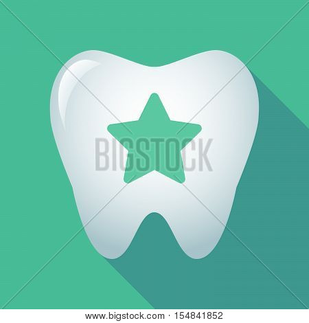 Long Shadow Tooth Icon With A Star