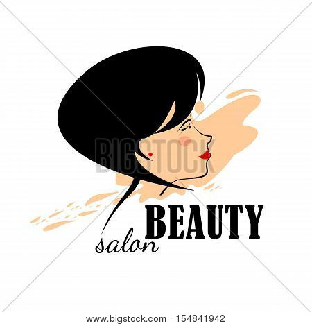 Beautiful woman Logo for beauty salon, spa salon, firm or company. Abstract logo woman's face in profile. Vector illustration