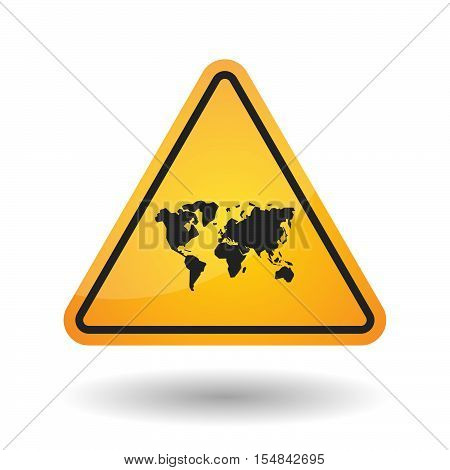 Isolated Danger Signal Icon With A World Map