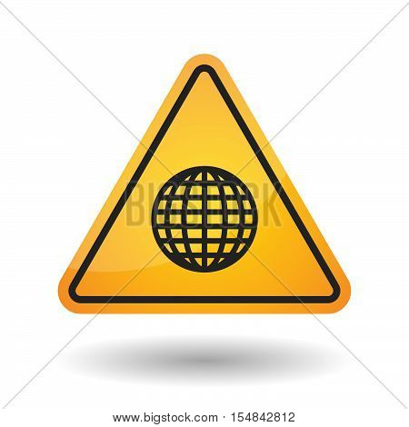 Isolated Danger Signal Icon With A World Globe