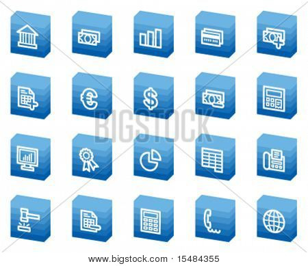 Banking web icons, blue box series