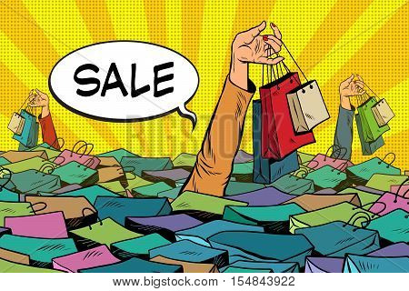 sales, people drowning in the ocean of shopping, pop art retro vector. The concept of black Friday and holiday sales