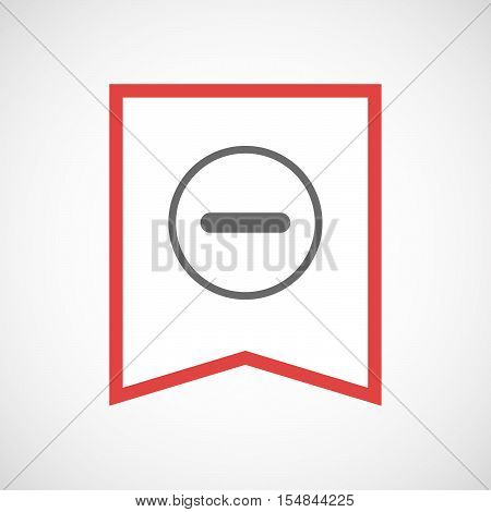 Isolated Line Art Ribbon Icon With A Subtraction Sign