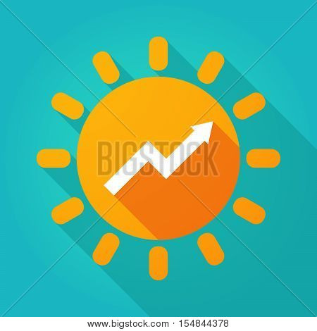 Long Shadow Bright Sun Icon With A Graph