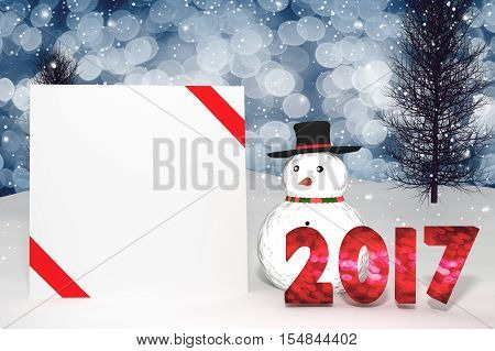 3D Rendering : Illustration Of 2017 Light Bokeh Number And White Card With Red Ribbon On Perspective
