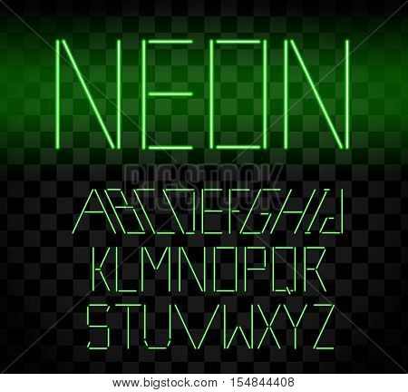 Green Glowing Neon Bar Alphabet On Transparent Background. Glowing Font. Vector Illustration