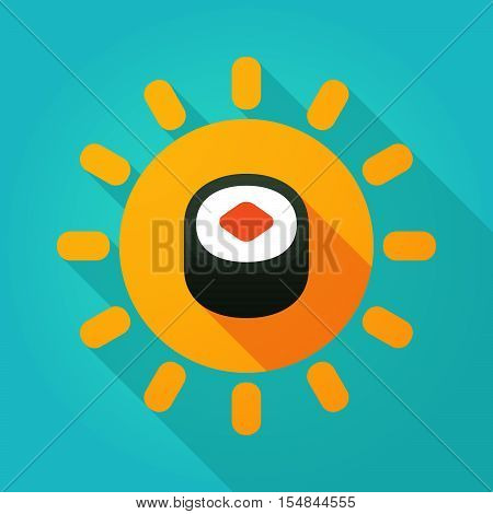 Long Shadow Bright Sun Icon With A Piece Of Sushi Maki