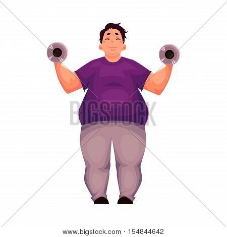 Fat man training with dumbbells, cartoon vector illustration isolated on white background. Obese, fat, chubby man doing weightlifting exercises, going to gym, working out