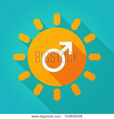 Long Shadow Bright Sun Icon With A Male Sign