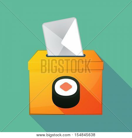 Long Shadow Coloured Ballot Box Icon With A Piece Of Sushi Maki