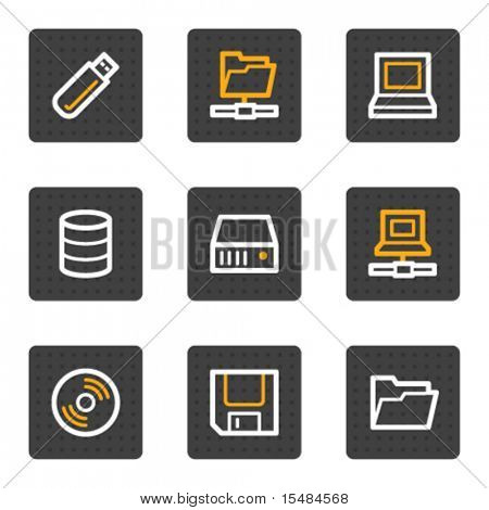 Drives and storage web icons, grey buttons series